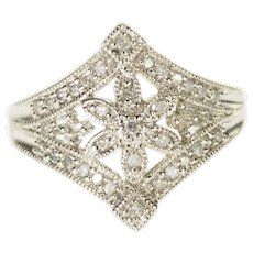 10K Diamond Encrusted Pointed Flower Motif Ring Size 7.25 White Gold [QWXP]