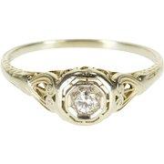 18K Art Deco Diamond Milgrain Ornate Engagement Ring Size 8.75 White Gold