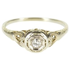 18K Art Deco Diamond Milgrain Ornate Engagement Ring Size 8.75 White Gold