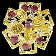 14K 1.38 Ctw Ruby Diamond Tiered Abstract Cluster Ring Size 7 Yellow Gold [QRXF]