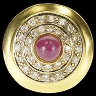 14K Ruby 0.90 Ctw Diamond Round Halo Tiered Ring Size 6.75 Yellow Gold [QRXF]