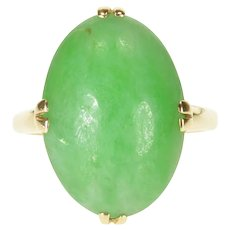 14K 13 Ct Oval Cabochon Jade Claw Prong Ring Size 6.5 Yellow Gold [QWXP]