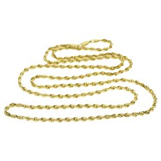 """14K 3.1mm Thick Rolling Twist Rope Necklace Necklace 30"""" Yellow Gold  [QWXP]"""