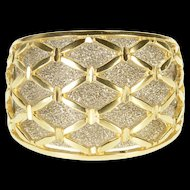 14K Two Tone Pitted Texture Lattice Overlay Band Ring Size 7.25 Yellow Gold [QRXF]