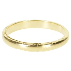 14K Rounded Grooved Patterned Men's Wedding Band Ring Size 12 Yellow Gold [QWXP]