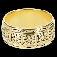 14K 7.9mm Ornate Floral Motif Scalloped Patterned Ring Size 5.75 Yellow Gold [QWXP]