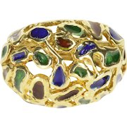 14K Green Red Blue Enamel Abstract Statement Ring Size 6.75 Yellow Gold