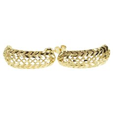 14K Diamond Cut Textured Patterned Semi Hoop Post EarRings Yellow Gold  [QRXQ]