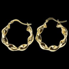 14K Curvy Twist Hollow Hoop Earrings Yellow Gold  [QPQX]