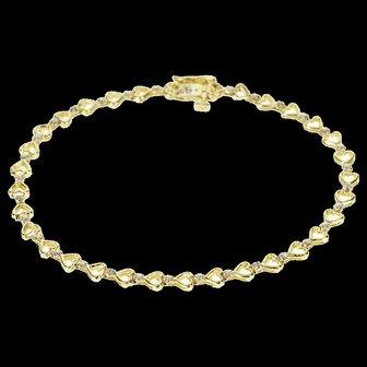 "10K Diamond Inset Heart Link Chain Bracelet 7.5"" Yellow Gold  [QWXS]"