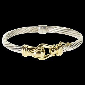 "925 + 14KK Two Tone Twist Buckle Ornate Bangle Bracelet 7.25"" Yellow Gold  [QWXS]"