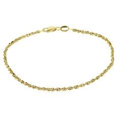 "14K Rope Link Fancy Chain Bracelet 7.25"" Yellow Gold  [QRXQ]"
