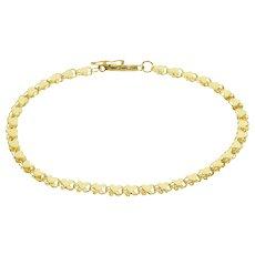 "14K Heart Symbol Chain Link Bracelet 7"" Yellow Gold  [QWXS]"