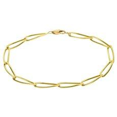"14K Loose Link Chain Fancy Bracelet 7"" Yellow Gold  [QRXQ]"