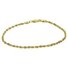 "14K Rope Link Twist Chain Bracelet 7.25"" Yellow Gold  [QRXQ]"