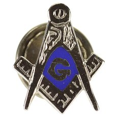 10K Masonic Compass Square Enamel Pin/Brooch White Gold