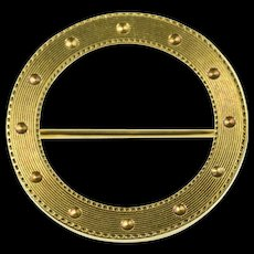 14K Grooved Dot Trim Design Circle Round Pin/Brooch Yellow Gold