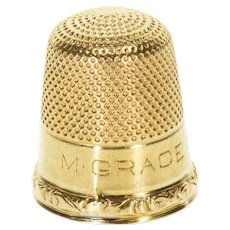 14K Ornate Textured Thimble Sewing  Yellow Gold  [QWXP]