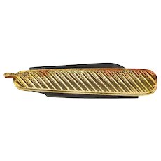 10K Grooved Scalloped Pocket Jack Knife Pendant Yellow Gold  [QRXQ]
