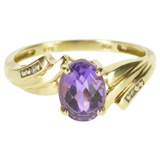 10K Faceted Oval Amethyst Diamond Accented Bypass Ring Size 7 Yellow Gold