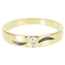 14K Diamond Inset Pointed Oval Grooved Wedding Band Ring Size 6 Yellow Gold [QWXP]