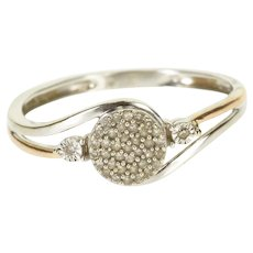 10K Diamond Pave Encrusted Cluster Engagement Ring Size 6.75 White Gold [QRXC]