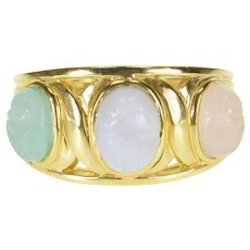14K Jadeite Oval Scarab Carved Cabochon Statement Ring Size 7.25 Yellow Gold