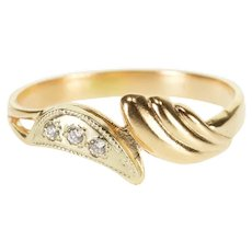 14K Diamond Inset Two Tone Scalloped Bypass Ring Size 7.5 Rose Gold [QRXC]