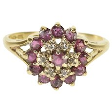 10K Syn. Ruby Diamond Tiered Halo Cluster Statement Ring Size 6.5 Yellow Gold [QRXC]