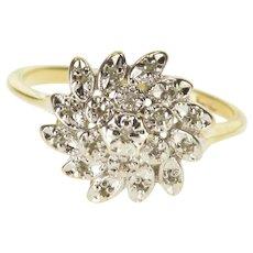 10K Floral Diamond Cluster Petal Design Statement Ring Size 6 Yellow Gold [QWXP]