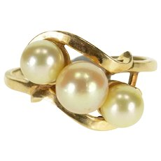 14K Pearl Three Stone Cluster Bypass Statement Ring Size 7 Yellow Gold [QWXP]