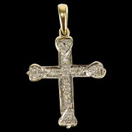 10K Diamond Encrusted Heart Accented Cross Pendant Yellow Gold  [QWXP]