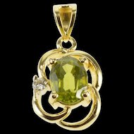 14K Peridot Diamond Accented Oval Curved Trim Pendant Yellow Gold  [QWXP]
