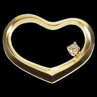 14K Diamond Accented Ridged Curvy Heart Pendant Yellow Gold  [QWXP]