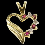 14K Syn. Ruby Diamond Accented Wavy Grooved Heart Pendant Yellow Gold  [QWXP]