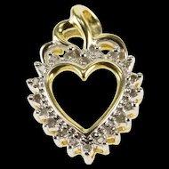 10K Two Tone Diamond Encrusted Heart Pendant Yellow Gold  [QWXP]