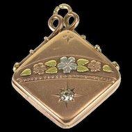 8K 0.18 CT Edwardian Diamond Three Tone Locket Pendant Yellow Gold  [QWXP]
