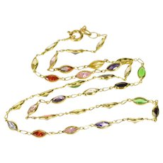"18K Rainbow Assorted Marquise Bezel Link Chain Necklace 15.5"" Yellow Gold  [QWXP]"