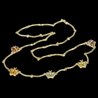 "10K Citrine Topaz Peridot Garnet Butterfly Necklace 16.5"" Yellow Gold  [QWXP]"