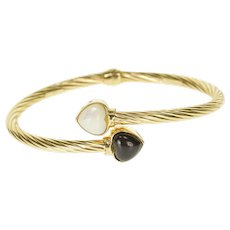 "14K Twist Rope Black Onyx Mother of Pearl Bangle Bracelet 7"" Yellow Gold  [QRXC]"