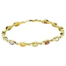 "14K Oval Bezel Set Gemstone Inset Link Bracelet 7"" Yellow Gold  [QRXC]"