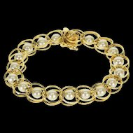 "14K Double Link Pearl Inset Fancy Chain Bracelet 6.75"" Yellow Gold  [QWXP]"