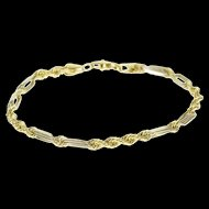 "14K Two Tone Elongated Rope Link Fancy Chain Bracelet 6.75"" Yellow Gold  [QWXP]"