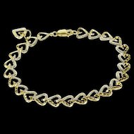 "10K Two Tone Textured Heart Link Chain Bracelet 7"" Yellow Gold  [QWXP]"