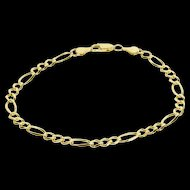 "14K Pressed Figaro Curb Fancy Chain Link Bracelet 8.75"" Yellow Gold  [QWXP]"