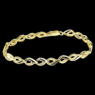 "10K Textured Wavy Curvy Loop Link Tennis Bracelet 7.25"" Yellow Gold  [QWXP]"