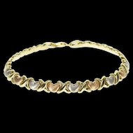 "14K Three Tone Textured Hearts Hugs Criss Cross Bracelet 7"" Yellow Gold  [QWXP]"