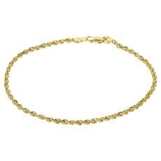 "14K Rope Link Fancy Chain Bracelet 7.25"" Yellow Gold  [QRXC]"