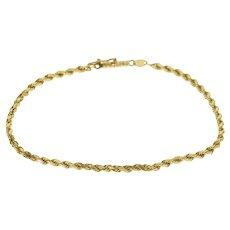 "14K Rope Twist Chain Link Bracelet 7.25"" Yellow Gold  [QRXC]"