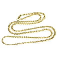"""14K Pressed Link Fancy Chain Necklace 17.5"""" Yellow Gold  [QWXP]"""